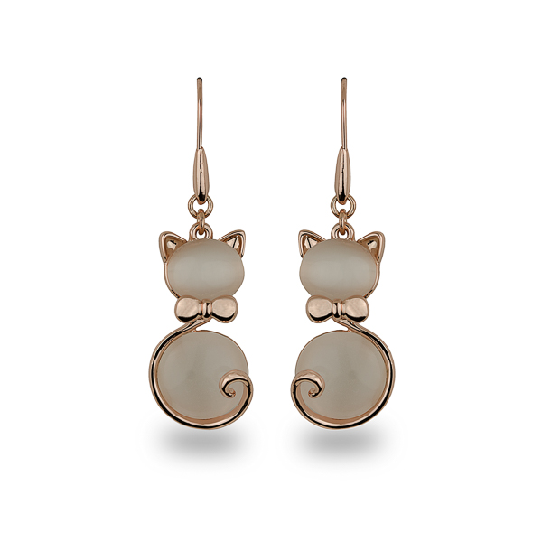 Rose Gold Plated French Cat Earrings