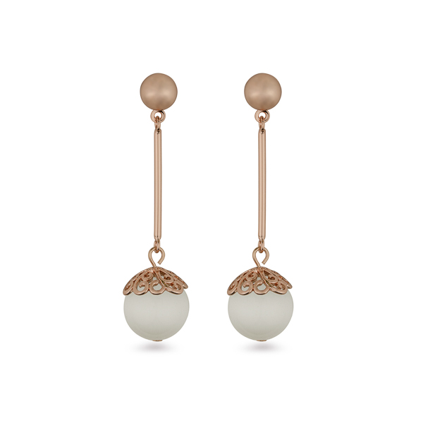 Rose Gold Plated Cat Eye Ball Drop Earrings