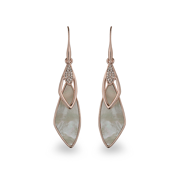 Rose Gold Plated Mother of Pearl Crystal Loop Drop Earrings