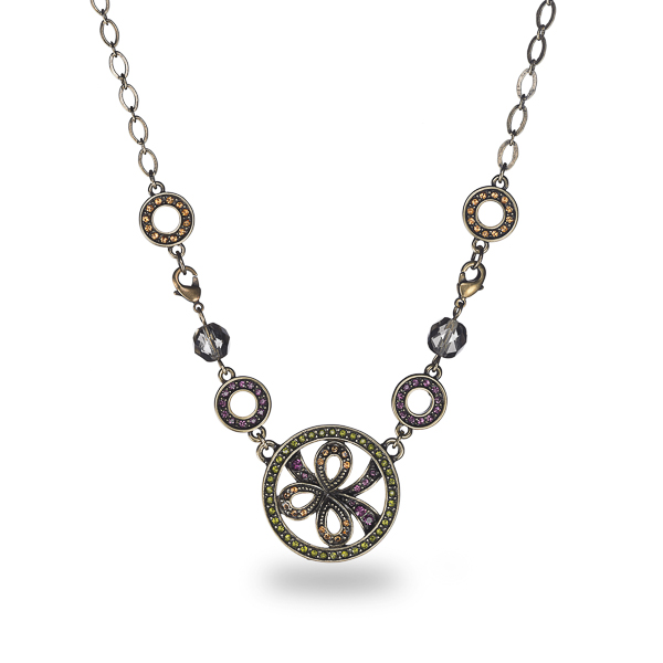 Oxidized Bronze Plated Multiple Color Crystal Round Necklace