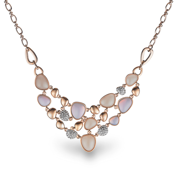 Rose Gold Plated Resin and Crystal Statement Necklace