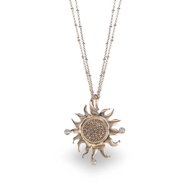 14K Gold Plated Topaz Crystal Sun Necklace