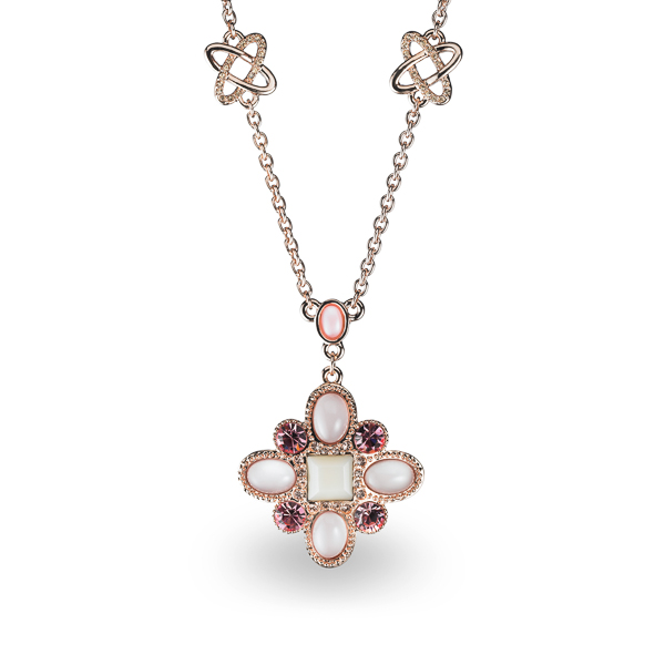 Rose Gold Plated Pink Resin and Crystal and Glass Stone Necklace