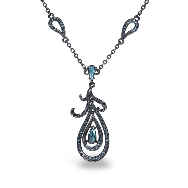 Black Rhodium Plated Blue Stone Tear Design Necklace
