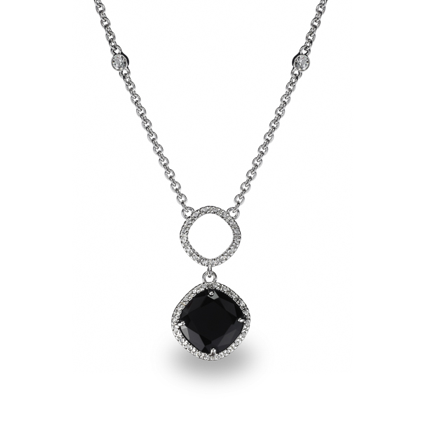 Rhodium Plated Square Black Glass Stone Necklace