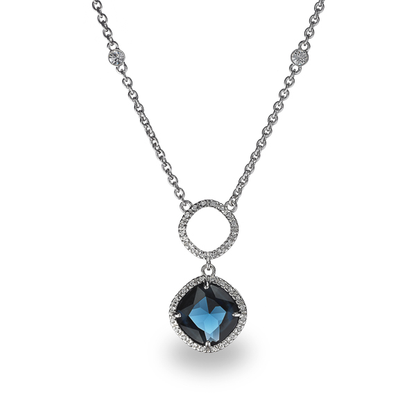 Rhodium Plated Square Blue Glass Stone Necklace