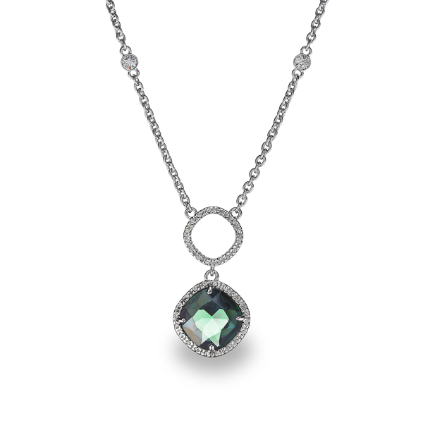 Rhodium Plated Square Green Glass Stone Necklace