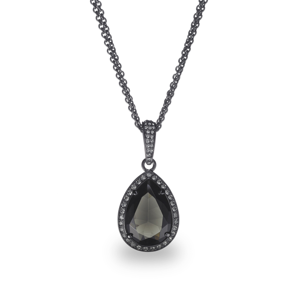Black Rhodium Plated Black Tear Glass Stone Necklace