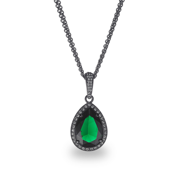 Black Rhodium Plated Green Tear Glass Stone Necklace