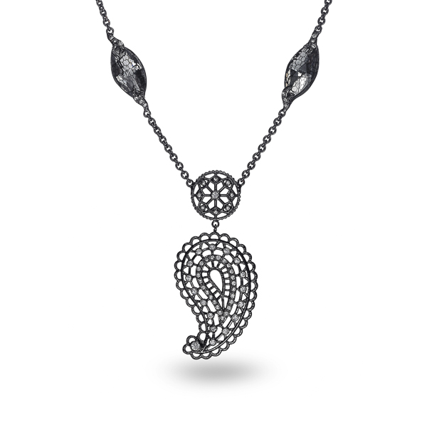 Black Rhodium Plated Paisley Filigree Necklace