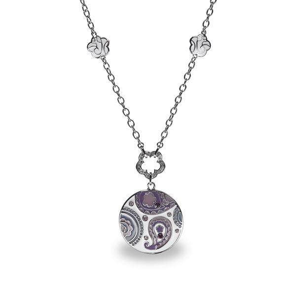 Rhodium Plated Enamel Paisley Design Necklace