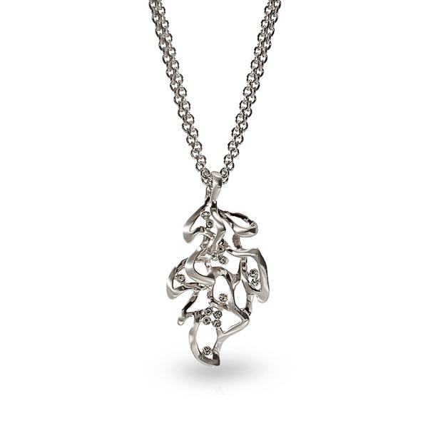 Rhodium Plated Leaf Necklaces