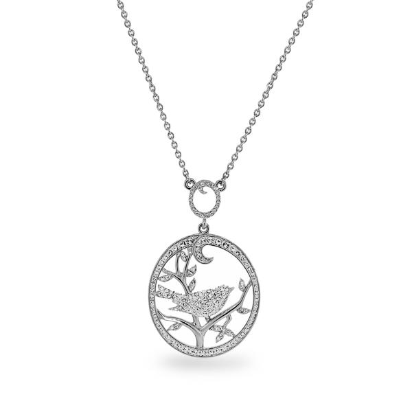 Rhodium Plated Crystal Bird Necklace