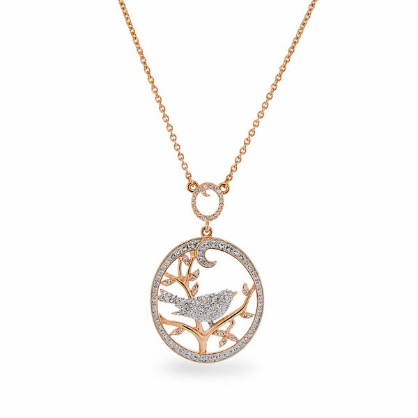 Rhodium and Rose Gold Plated Crystal Bird Necklace