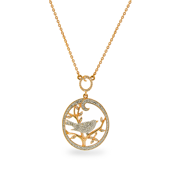 Rhodium and 14K Gold Plated Crystal Bird Necklace