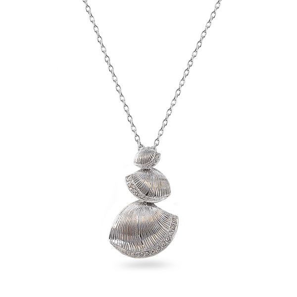 Rhodium Plated Sea Shell Necklace