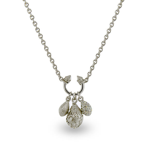 Rhodium Plated Crystal Charms Necklace