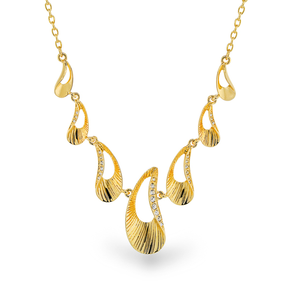 14K Gold Plated Crystal Ocean Necklace