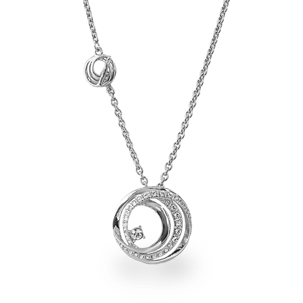 Rhodium Plated Crystal Loops Necklace