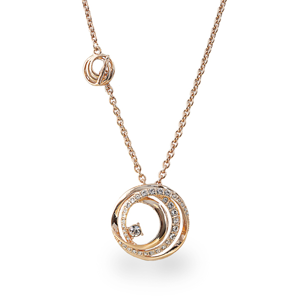 Rose Gold Plated Crystal Loops Necklace