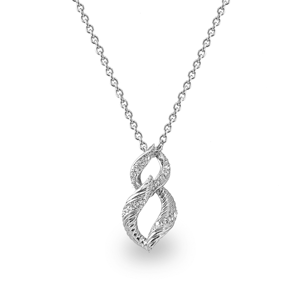 Rhodium Plated Double Loop Necklace
