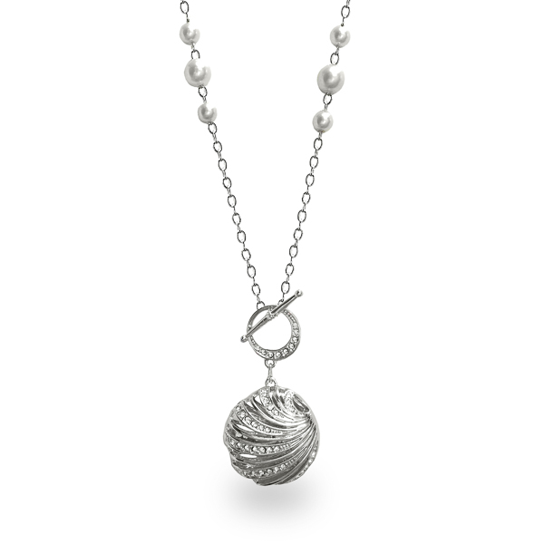 Rhodium Plated Open Sea Shell Crystal Necklace