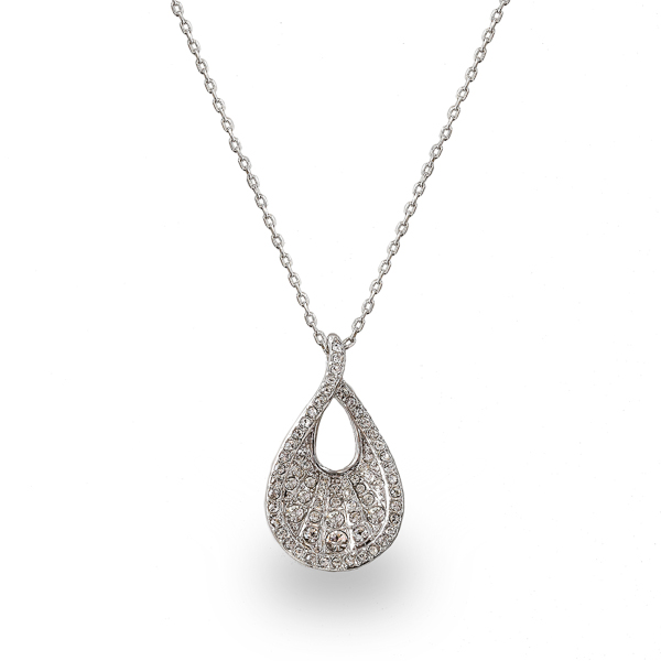 Rhodium Plated Crystal Pear Necklace