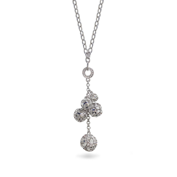 Rhodium Plated Multiple Crystal Balls Drop Necklace