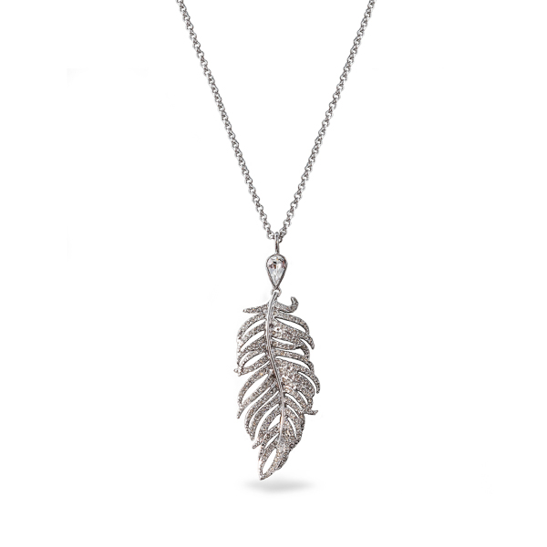 Rhodium Plated Feather Crystal Drop Necklace