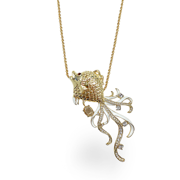 14K Gold Plated Crystal Fish Drop Necklace