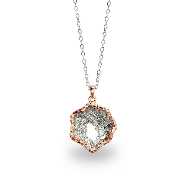 Rhodium and Rose Gold Plated Clam Necklace