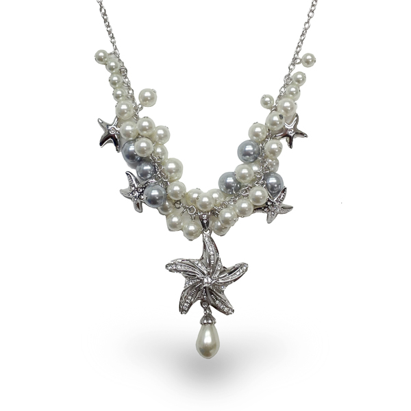 Rhodium Plated Star Fish and Pearl Necklace