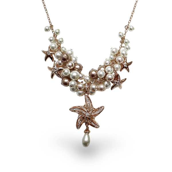 Rose Gold Plated Star Fish and Pearl Necklace