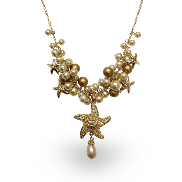 14K Gold Plated Star Fish and Pearl Necklace