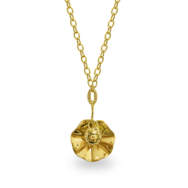 14K Gold Plated Crystal Ocean Theme Drop Necklace