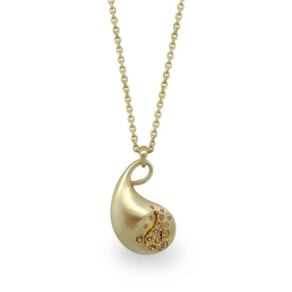 14K Gold Plated Matt Paisley Necklace