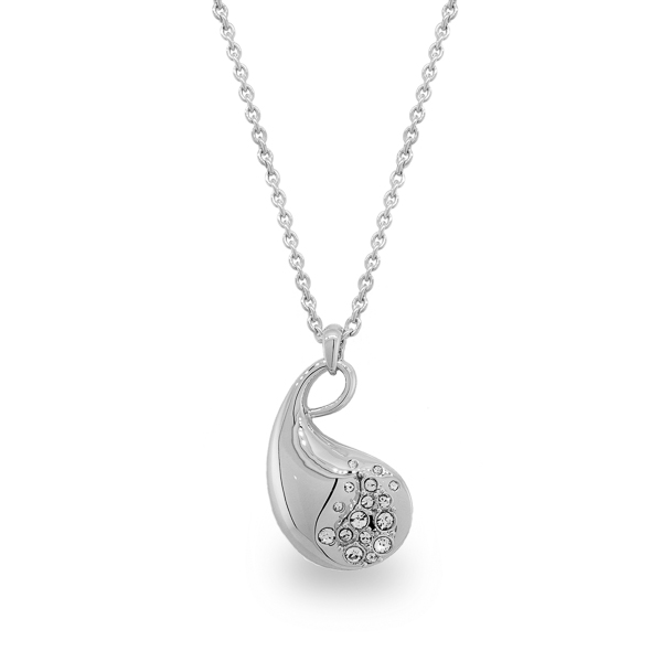 Rhodium Plated Shiny Paisley Necklace