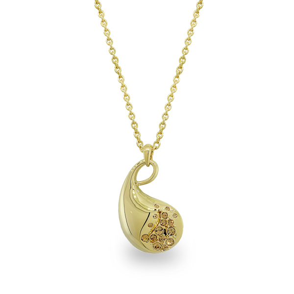 14K Gold Plated Shiny Paisley Necklace