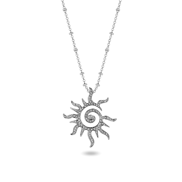 Rhodium Plated Open Sun Necklace