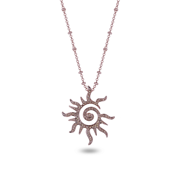 Rose Gold Plated Open Sun Necklace