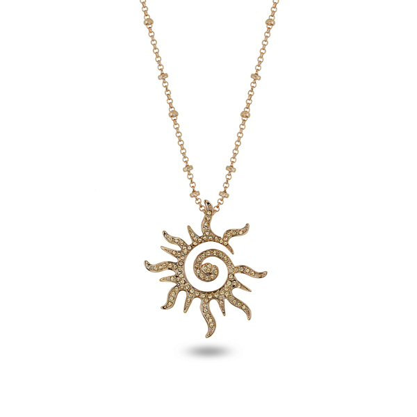 14K Gold Plated Open Sun Necklace