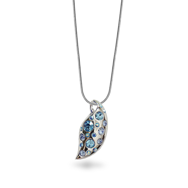 Rhodium Plated Aqua Crystal Leaf Necklace