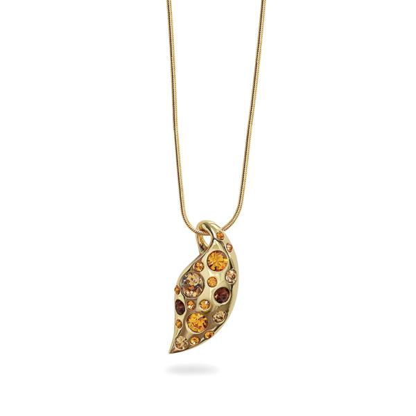14K Gold Plated Topaz Crystal Leaf Necklace
