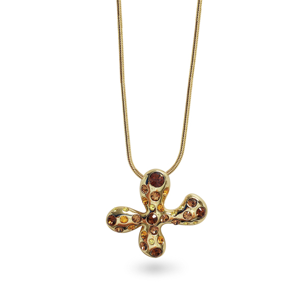 14K Gold Plated Topaz Crystal Plus Sign Necklace