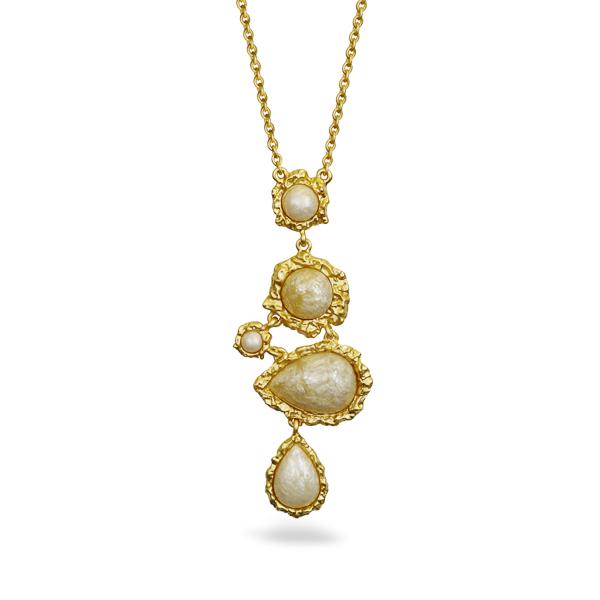 14K Gold Plated Resin Stone Irregular Design Necklace
