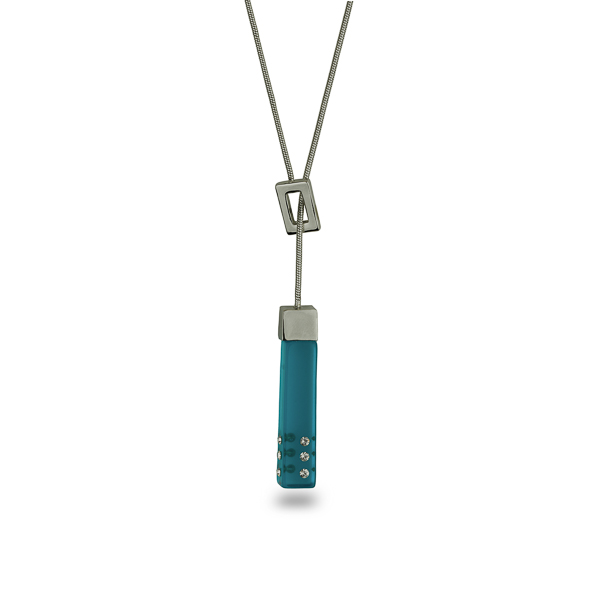 Rhodium Plated Rectangular Resin Stone Necklace
