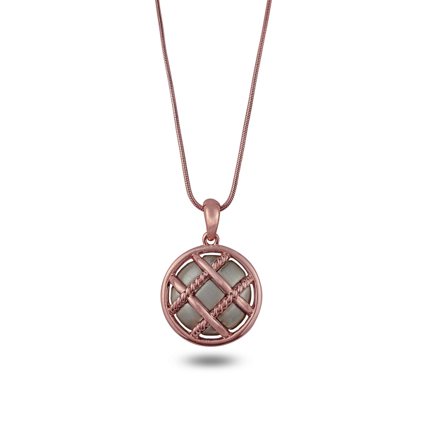 Rhodium and Rose Gold Plated Quilted Round Necklace