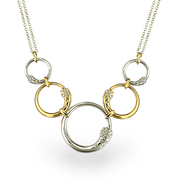 Two Tone Plated 5 Loop Crystal Necklace