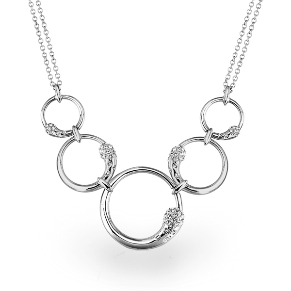 Rhodium Plated 5 Loop Crystal Necklace