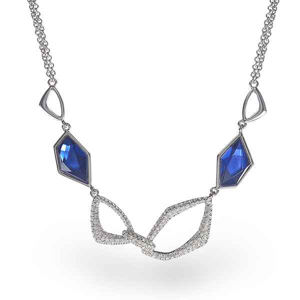 Rhodium Plated Sapphire Blue Necklace